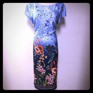 Beige By eci Blue Floral Bodycon Dress Sz 14